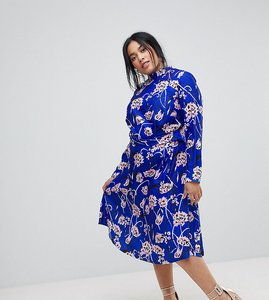 Read more about Asos curve bright floral high neck midi dress - floral