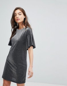 Read more about Warehouse metallic frill tunic dress - silver