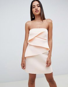 Read more about Asos design bonded origami fold shift mini dress - nude