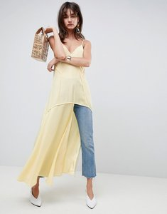 Read more about Asos white silk cami top with split detail - yellow
