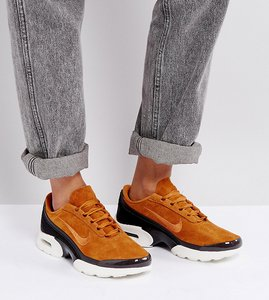 Read more about Nike air max jewell premium ponyskin trainers in tan - cider black