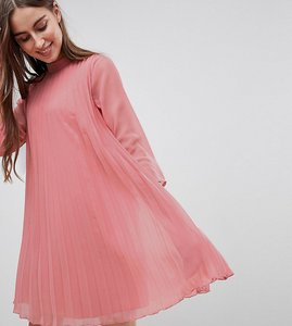 Read more about Asos tall pleated trapeze mini dress with long sleeves - pink