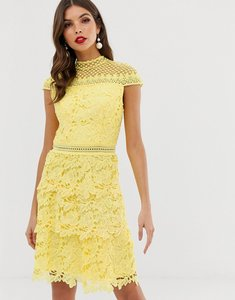 Read more about Chi chi london tiered lace a line mini dress in yellow