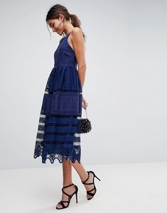 Read more about Asos premium broderie lace midi dress - navy