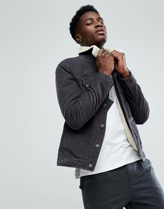 Read more about Stradivarius borg lined trucker jacket in grey - grey