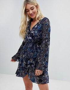 Read more about Band of gypsies floral burnout velvet wrap dress - navy taupe
