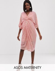 Read more about Asos design maternity scatter sequin knot front kimono midi dress