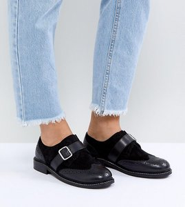 Read more about Asos vibes wide fit leather flat shoes - black