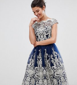 Read more about Chi chi london premium metallic lace midi prom dress with bardot neck - navy gold