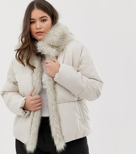 Read more about Lost ink plus padded jacket with faux fur trim - grey