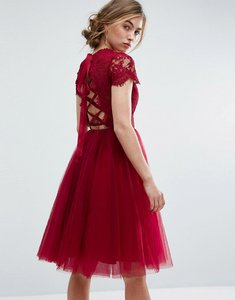 Read more about Chi chi london midi tulle dress with lace up back - wine