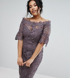 Read more about Paper dolls plus bardot crochet dress with fluted sleeve in charcoal - charcoal
