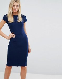 Read more about Closet london ribbed bodycon dress with cap sleeve - navy