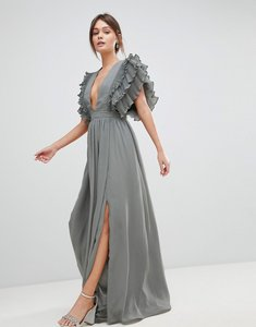 Read more about True decadence premium plunge front maxi dress with shoulder detail - grey