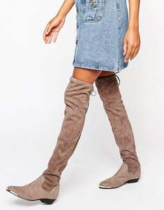 Read more about Office hideout tipped stretch suede flat over the knee boots - taupe grey kid suede