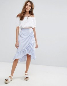 Read more about Miss selfridge ruffle tie waist midi skirt - blue