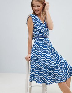 Read more about Louche zig zag print belted skater dress - blue white