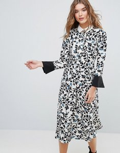 Read more about Closet long sleeve bell sleeve collared dress - white black blue