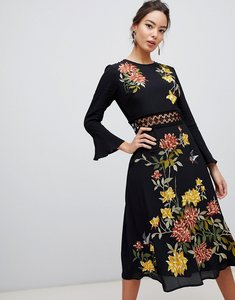 Read more about Asos design embroidered midi dress with lace inserts and floral embroidery