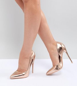 Read more about Lost ink wide fit rose gold court shoes - rose gold