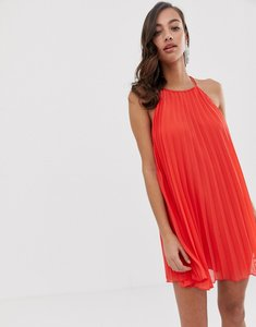 Read more about Asos design pleated mini trapeze dress with lace up back detail