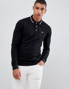 Read more about Emporio armani tipped logo long sleeve polo in black - black