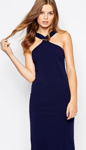 Read more about Twin sister midi pencil dress with square neck - navy