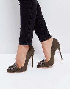 Read more about Public desire missouri buckle detail court shoes - khaki