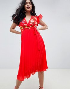 Read more about Asos design pleated midi dress with embroidery - red