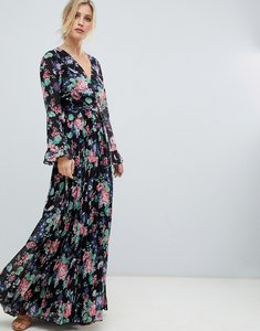 Read more about Asos design pleated wrap maxi dress with ruffle in floral print
