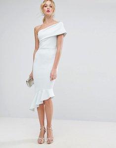 Read more about Asos scuba one shoulder pephem midi dress - pale blue