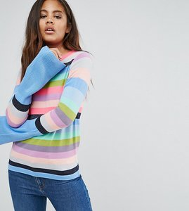 Read more about Asos tall jumper with multi stripe and fluted sleeves - multi