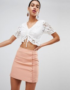 Read more about Fashion union mini skirt with button side - apricot