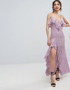 Read more about Missguided strappy lace thigh split maxi dress - lilac