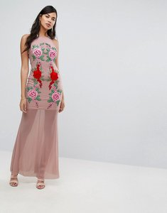 Read more about Naanaa fishtail maxi dress with lace applique - nude