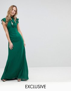 Read more about Tfnc wedding flutter sleeve fitted maxi dress in chiffon - forest green