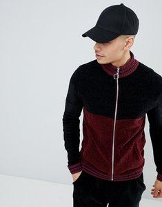 Read more about Asos knitted co-ord chenille track jacket with stripe in burgundy - burgundy
