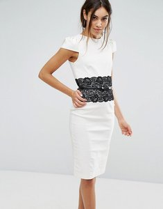 Read more about Paper dolls lace panel bodycon dress - black