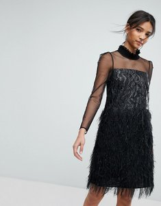 Read more about Tresophie jaquard metallic dress with fringing dress - black
