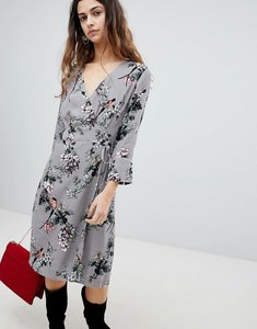 Read more about Soaked in luxury floral wrap dress - medium grey