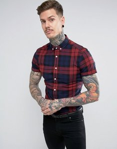 Read more about Asos skinny fit check shirt in burgundy - burgundy