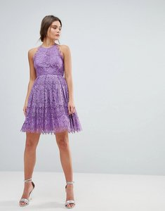 Read more about Asos pinny prom mini dress in lace - purple