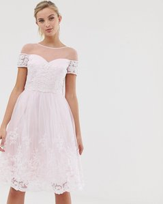Read more about Chi chi london 2 in 1 premium lace midi prom dress - soft pink