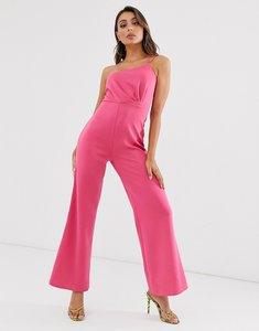 Read more about Laced in love wide leg scuba jumpsuit in pink