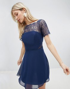 Read more about Asos lace insert panelled mini dress - navy