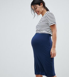 Read more about you nursing 2 in 1 bodycon midi dress with stripe overlay - navy stripe