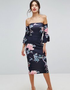 Read more about True violet flare sleeve bodycon dress in floral print - floral