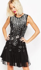 Read more about Asos ring mesh insert fit and flare mini dress - black