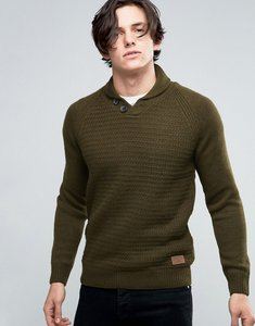 Read more about Threadbare shawl neck jumper - green