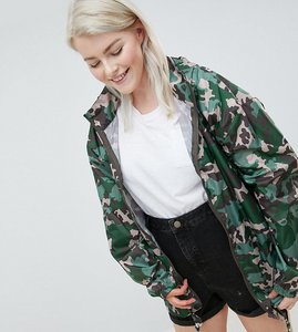 Read more about Asos design curve rain jacket with bumbag in camo print - multi